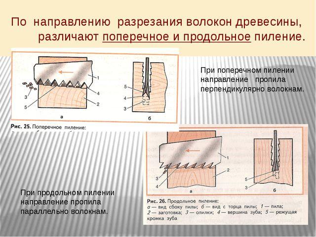 По направлению разрезания волокон древесины, различают поперечное и продольно...