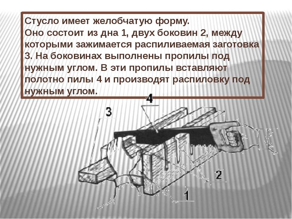 Стуслоимеет желобчатую форму. Оно состоит из дна 1, двух боковин 2, между ко...