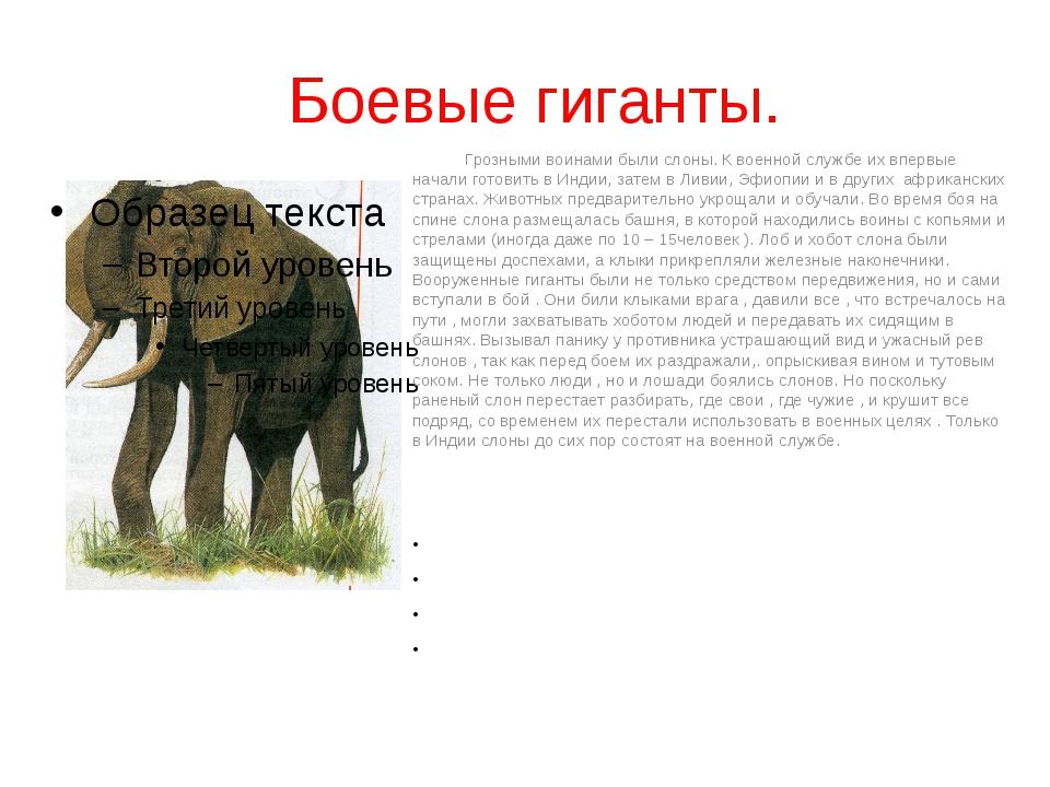 Боевые гиганты. Грозными воинами были слоны. К военной службе их впервые нач...