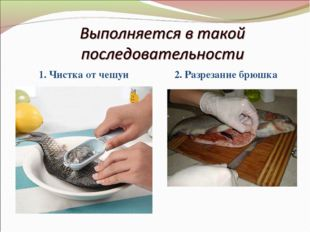 1. Чистка от чешуи 2. Разрезание брюшка