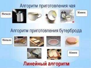 Алгоритм приготовления чая Алгоритм приготовления бутерброда Линейный алгоритм