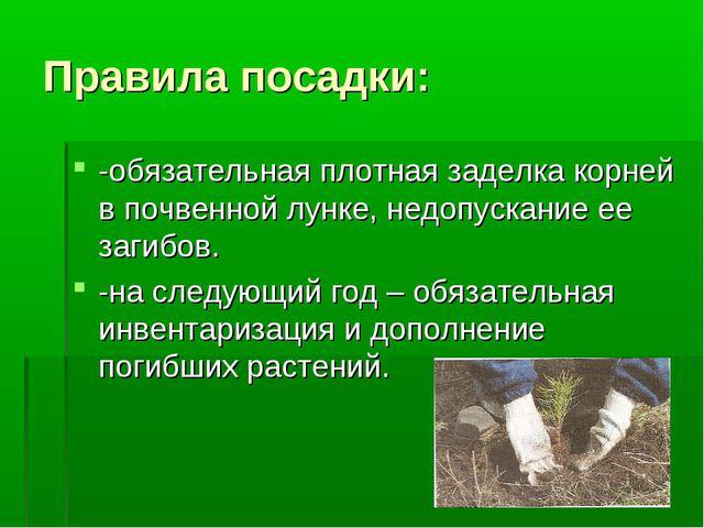 Правила посадки: -обязательная плотная заделка корней в почвенной лунке, недо...