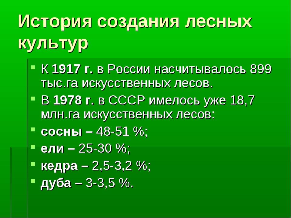 История создания лесных культур К 1917 г. в России насчитывалось 899 тыс.га и...