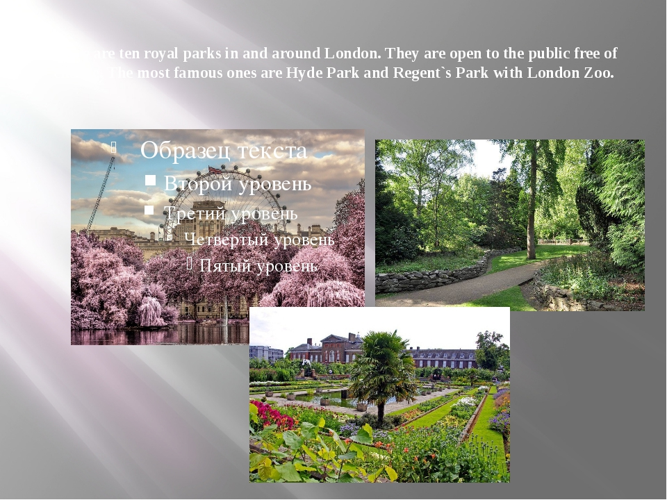 There are ten royal parks in and around London. They are open to the public f...