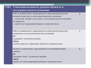 С2К3Смысловая цельность, речевая связность и последовательность изложения