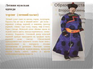 Летняя мужская одежда тэрлиг (летний халат) Летний халат сшит из шелка, парчи