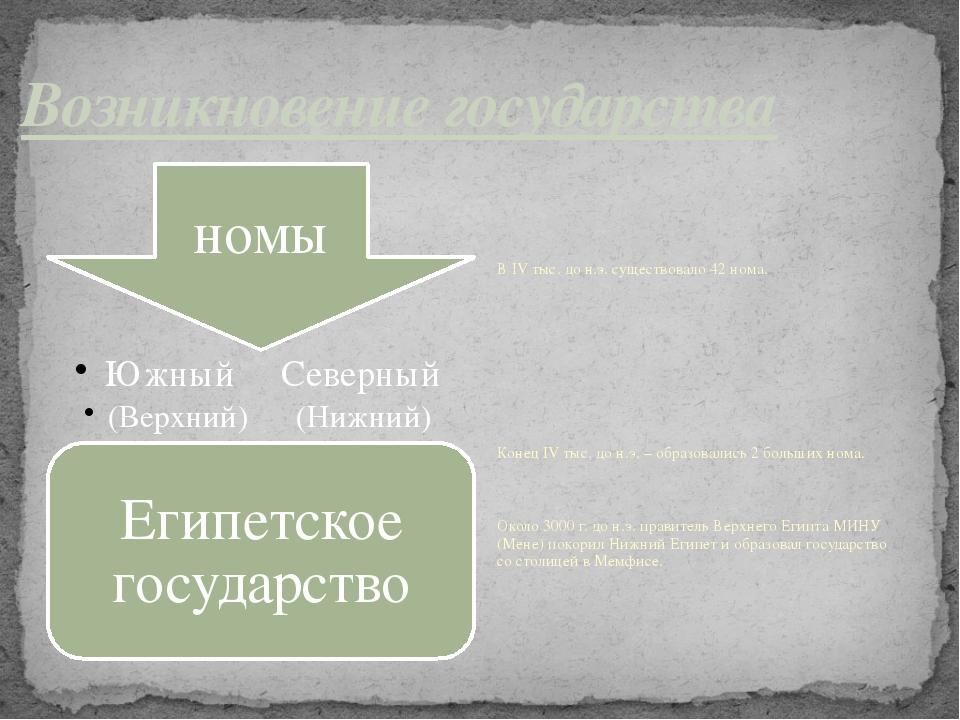 Возникновение государства В IV тыс. до н.э. существовало 42 нома. Конец IV ты...