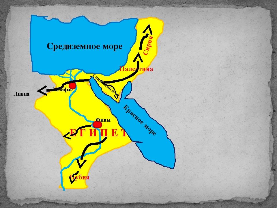 Е Г И П Е Т Средиземное море Красное море Фивы Мемфис Синайский п-ов Палести...