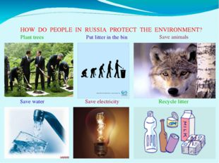 HOW DO PEOPLE IN RUSSIA PROTECT THE ENVIRONMENT? Plant trees Save water Save