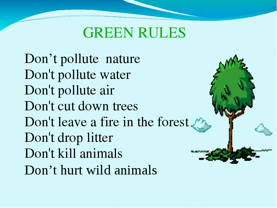 GREEN RULES Don't pollute nature Don't pollute water Don't pollute air Don't...