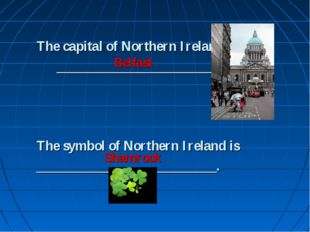 The capital of Northern Ireland is ___________________________. The symbol of