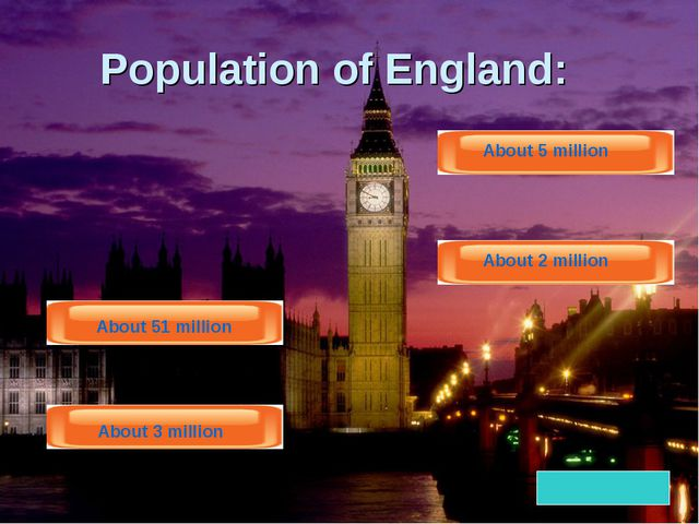 Population of England: About 51 million About 3 million About 5 million About...