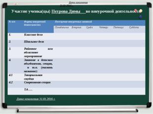 Участие ученка(цы) Петрова Димы во внеурочной деятельности Дата заполнения 31