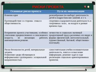 РИСКИ ПРОЕКТА Основные риски проекта Пути их минимизации Новизна идеи разнооб