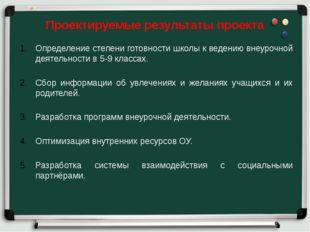 Проектируемые результаты проекта Определение степени готовности школы к веде