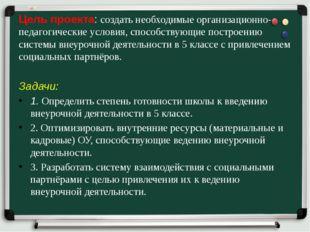 Цель проекта: создать необходимые организационно-педагогические условия, спос
