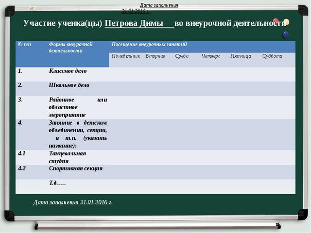 Участие ученка(цы) Петрова Димы во внеурочной деятельности Дата заполнения 31...