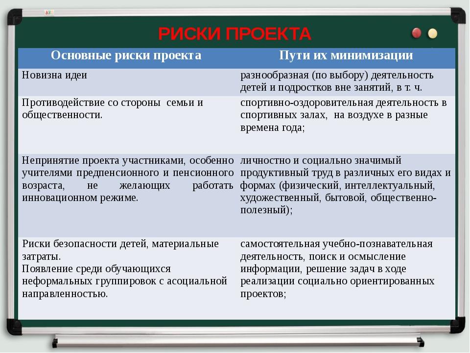 РИСКИ ПРОЕКТА Основные риски проекта Пути их минимизации Новизна идеи разнооб...
