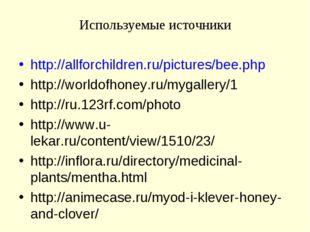 Используемые источники http://allforchildren.ru/pictures/bee.php http://world