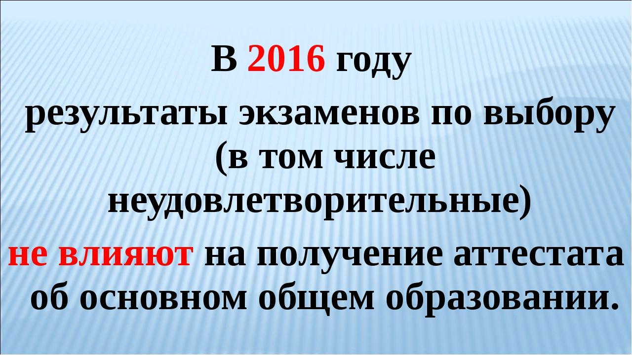 В 2016 году результаты экзаменов по выбору (в том числе неудовлетворительн...