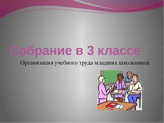 Собрание в 3 классе Организация учебного труда младших школьников