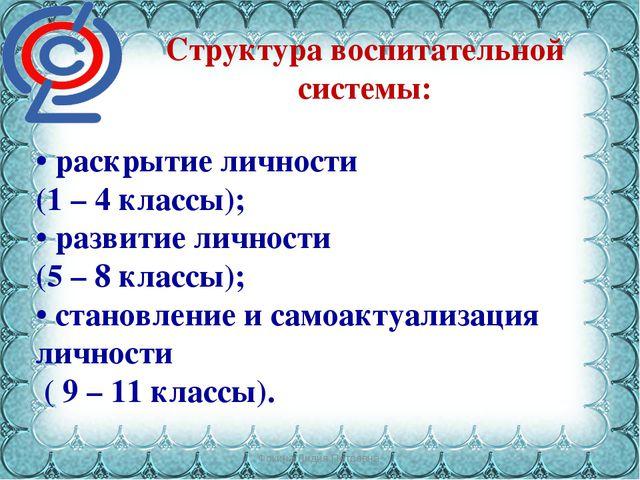 Фокина Лидия Петровна Структура воспитательной системы: • раскрытие личности...