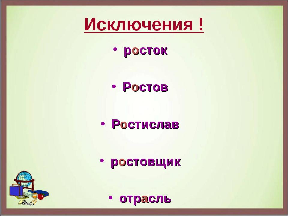 Исключения ! росток Ростов Ростислав ростовщик отрасль