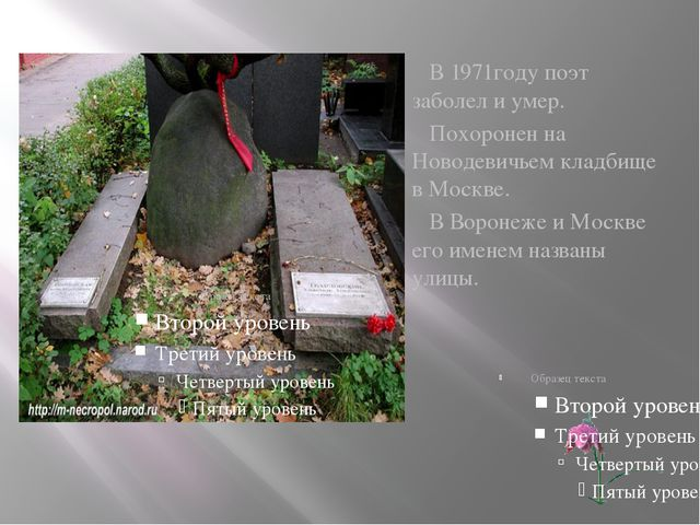 В 1971году поэт заболел и умер. Похоронен на Новодевичьем кладбище в Москве....