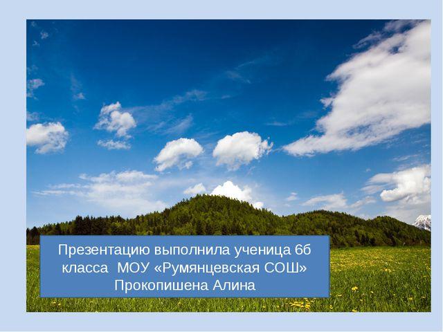 Презентацию выполнила ученица 6б класса МОУ «Румянцевская СОШ» Прокопишена Ал...
