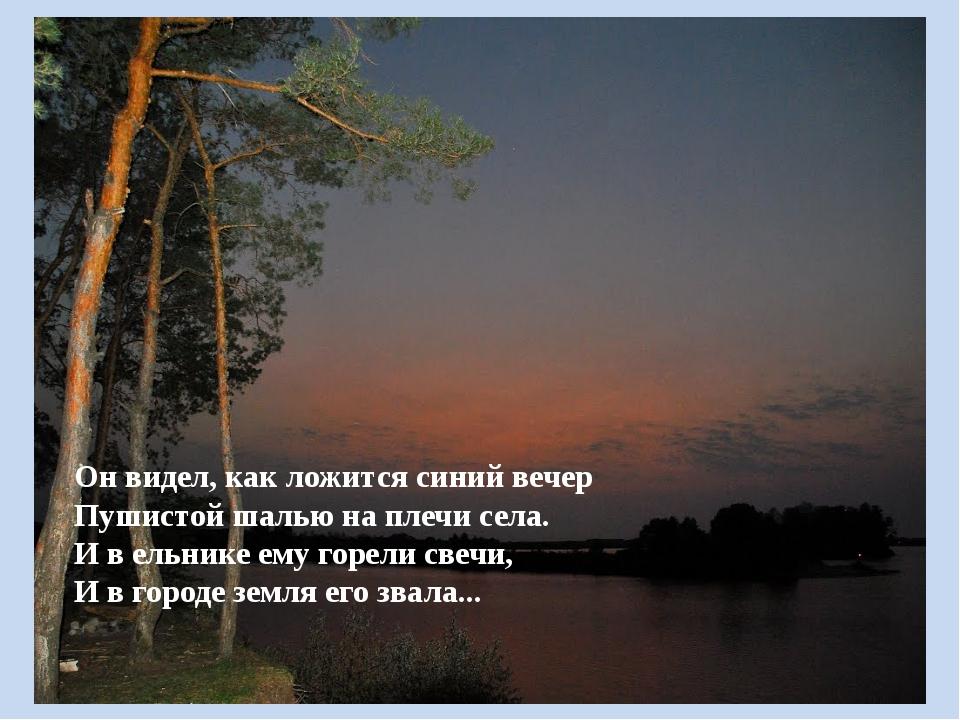 Он видел, как ложится синий вечер Пушистой шалью на плечи села. И в ельнике...