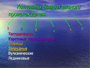 Котловины бывают разного происхождения: Тектонические Карстовые, термокарсто