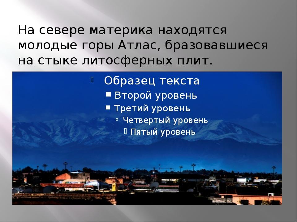 На севере материка находятся молодые горы Атлас, бразовавшиеся на стыке литос...
