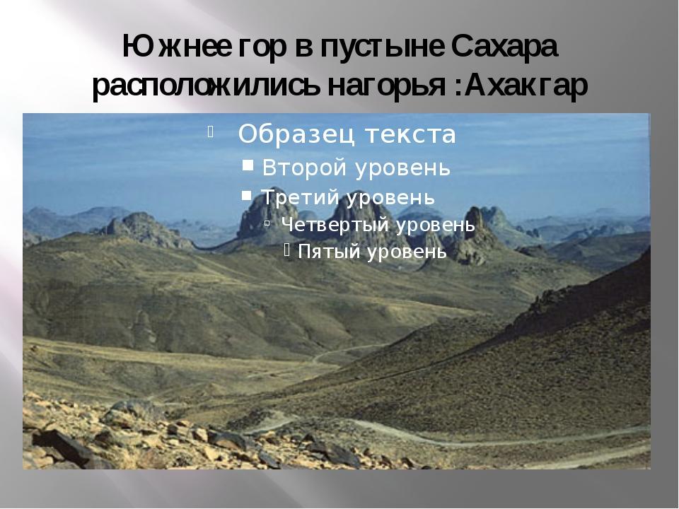 Южнее гор в пустыне Сахара расположились нагорья :Ахакгар