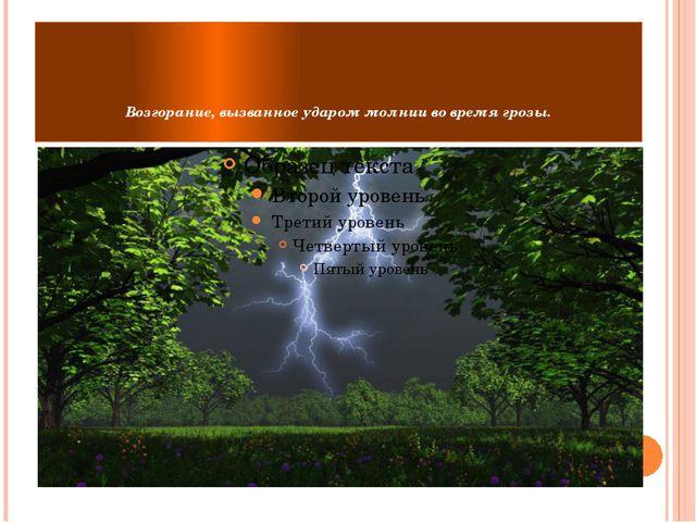 Возгорание, вызванное ударом молнии во время грозы.