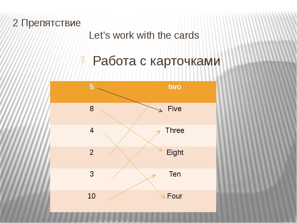 2 Препятствие Let's work with the cards Работа с карточками 5 two 8 Five 4 Th...