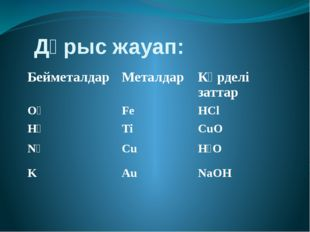 Дұрыс жауап: Бейметалдар Металдар Күрделі заттар O₂ Fe HCl H₂ Ti CuO N₂ Cu H₂