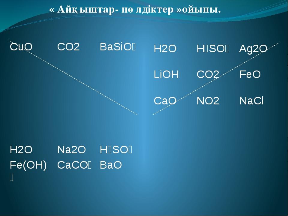 « Айқыштар- нөлдіктер »ойыны. H2O H₂SO₄ Ag2O LiOH CO2 FeO CaO NO2 NaCl CuO C...