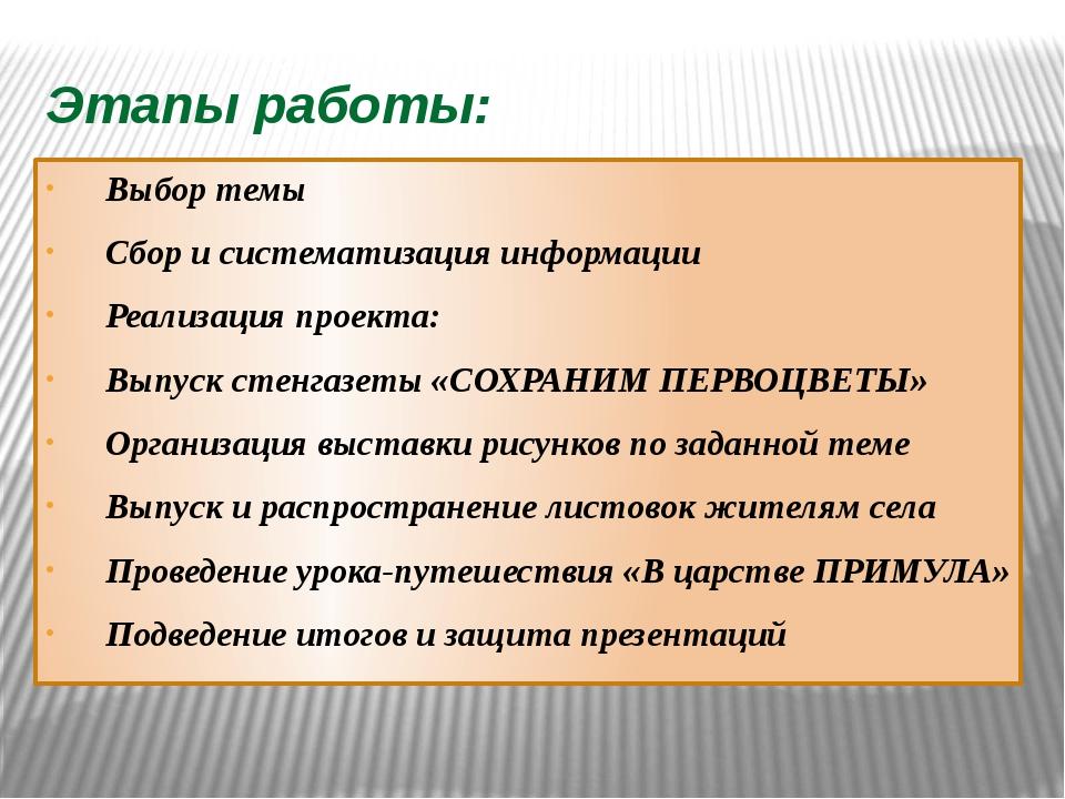 Этапы работы: Выбор темы Сбор и систематизация информации Реализация проекта:...