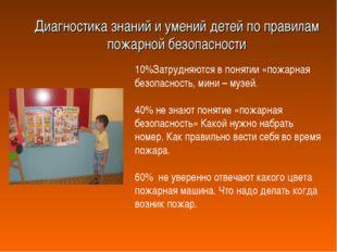 Диагностика знаний и умений детей по правилам пожарной безопасности 10%Затруд