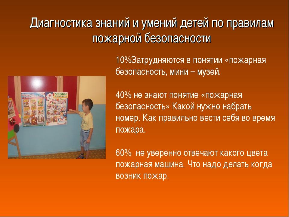 Диагностика знаний и умений детей по правилам пожарной безопасности 10%Затруд...