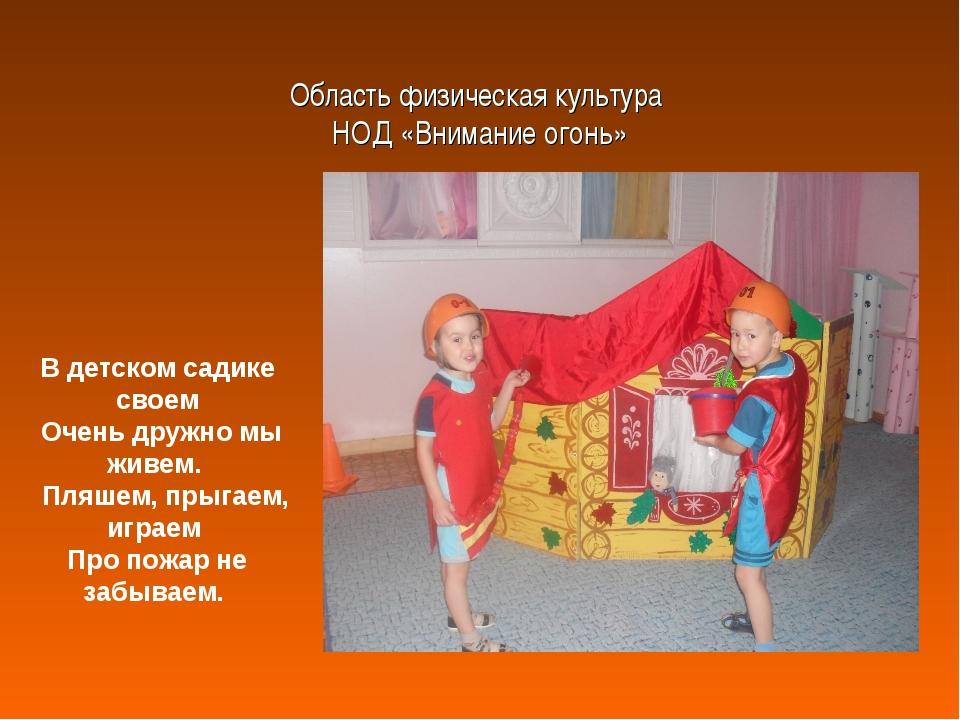 Область физическая культура НОД «Внимание огонь» В детском садике своем Очень...