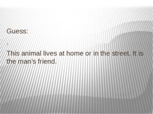 Guess: . This animal lives at home or in the street. It is the man's friend.