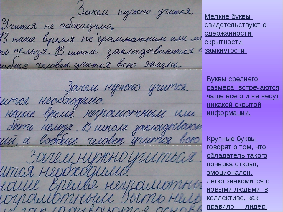 Крупные буквы говорят о том, что обладатель такого почерка открыт, эмоционале...