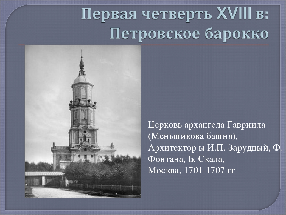 Церковь архангела Гавриила (Меньшикова башня), Архитектор ы И.П. Зарудный, Ф....