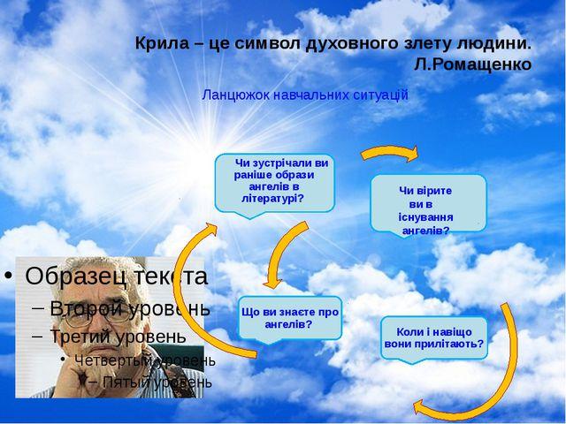 Крила – це символ духовного злету людини. Л.Ромащенко Ланцюжок навчальних сит...