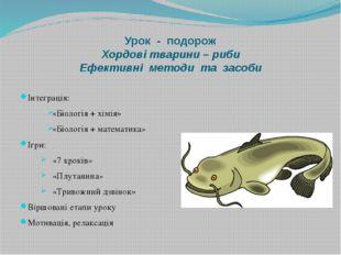 Урок - подорож Хордові тварини – риби Ефективні методи та засоби Інтеграція: