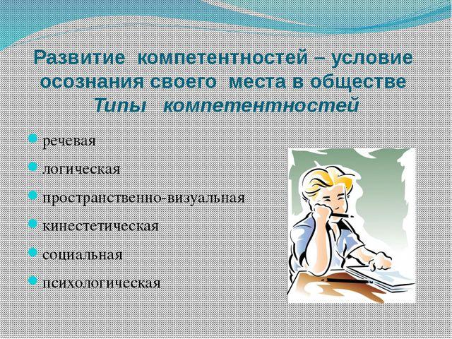 Развитие компетентностей – условие осознания своего места в обществе Типы ком...