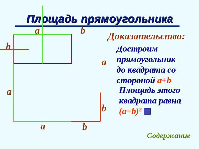 Площадь прямоугольника b a Доказательство: b a Достроим прямоугольник до квад...