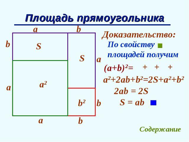 Площадь прямоугольника b a Доказательство: b a b b a a S S a2 b2 По свойству...