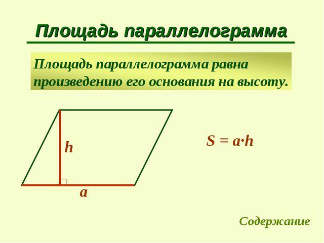 Площадь параллелограмма a h S = a∙h Содержание